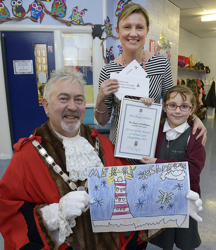 Poppy Withers with Mayor John Copsey