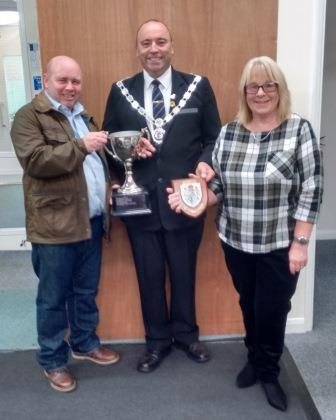 First Place Winners Marshall Lodge - Angela & Ian Thompson with the Mayor of Bridlington Councillor Liam Dealtry